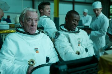 "L to R: Donald Sutherland, Brad Pitt and Sean Blakemore star in ""Ad Astra""."